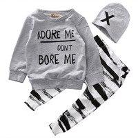 Newborn Baby Boy Girls Clothes Long Sleeve Tops Long Pants Hat 3PCS Outfits Set