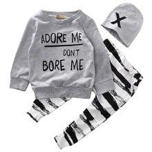 Newborn Baby Boy Girls Clothes Long Sleeve Tops +Long Pants Hat 3PCS Outfits Set