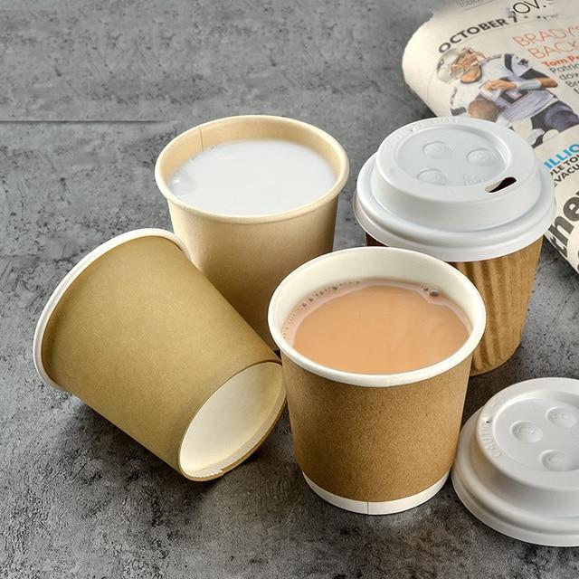 100x 4oz 100ml 120ml Coffee Paper Cup Small Kraft Cups Lids Food Grade