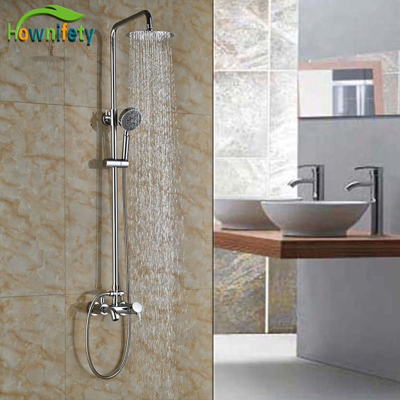 Wideapread Brass Chrome Polish Bathroom Tub Faucet Single Handle With Hand Shower Exposed