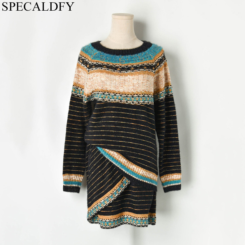 2019 Autumn Winter Knitted Sweater Sets Suit Women Ethnic Bohemian Vintage Designer Runway Two Piece Skirt Ladies Sweater Suits
