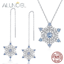 ALLNOEL Natural Blue Spinel Gemstone Fine Jewelry Sets Diamond For Women Necklace Earrings 100% Sterling Silver 925 Wedding