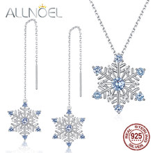 ALLNOEL Natural Blue Spinel Gemstone Fine Jewelry Sets Diamond For Women Necklace Earrings 100% Sterling Silver 925 Wedding(China)