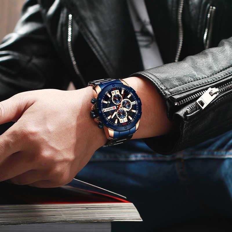 Curren Mens שעונים למעלה מותג יוקרה עמיד למים אופנה קוורץ זכר שעוני יד נירוסטה הכרונוגרף שעונים איש 2019