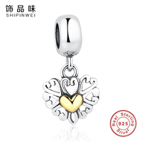 925 Sterling Silver Heart Love Charm Bead Fit Original Pandora Bracelet Necklace Authentic Luxury DIY Jewelry