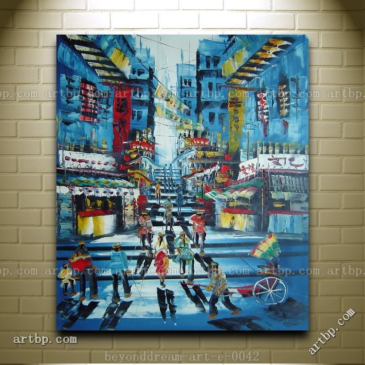 Busy street of hong kong at early twenty century oil for Oil painting abstract ideas
