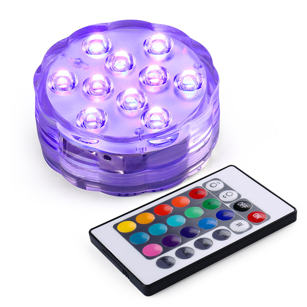 New Hot 2017 Underwater Wireless Remote Control Colorful Led Light Multi Color Submersible 10LED Light Waterproof Party Lamp