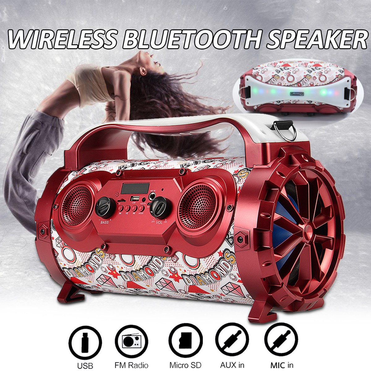 15W Portable Wireless Bluetooth Speakers Outdoor Loudspeaker Sound System Car Music Speakers Radio Player 36x18x22cm exrizu ms 136bt portable wireless bluetooth speakers 15w outdoor led light speaker subwoofer super bass music boombox tf radio