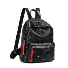 Новинка 2017 года модная одежда для девочек школьников lafy красивый черный из искусственной кожи с заклепками плечо рук Сумки Рюкзаки ДЛЯ Woemn подарок