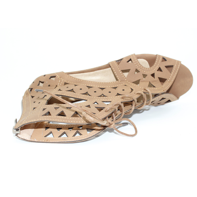6bb99a9fd9e Hollow Out Women Gladiator Sandals Vintage Lace Up Low Heel Wedges Summer  Shoes For Woman Open Toe Zipper Zapatos Mujer