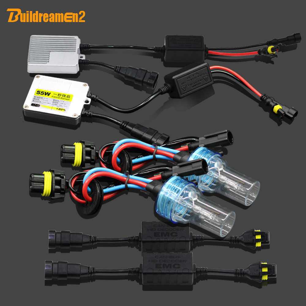 Buildreamen2 9005 HB3 H10 55W No Error HID Xenon Kit Anti Flicker AC Ballast Lamp Canbus Adapter Car Light Headlight 3000K-8000K buildreamen2 55w 880 881 car light hid xenon kit 3000k 8000k anti flicker no error ac ballast bulb canbus adapter auto headlight