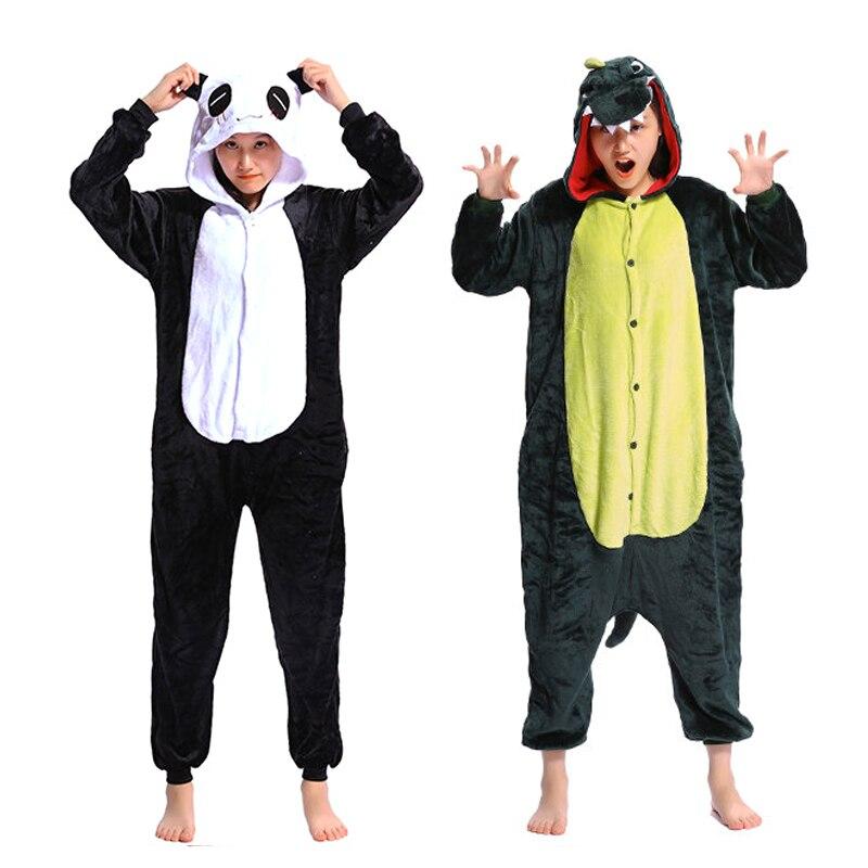 Women Animal Pajamas Cosplay Sleepwear Plus Size Adult Flannel Pajama Sets Autumn Winter Cartoon Panda Zebra Dinosaur Homewear