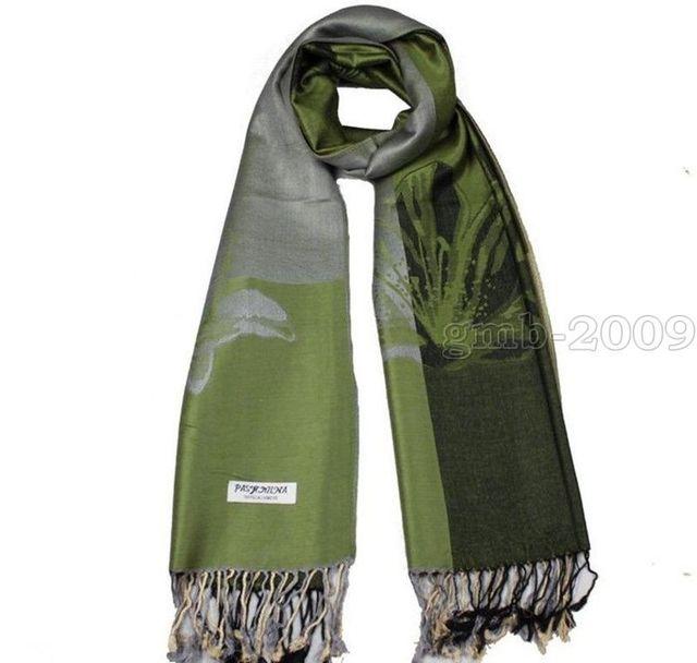 "72""x28"" Fashion Women's Warm Green Lotus Flower 100% Cashmere Pashmina Scarf Wrap"