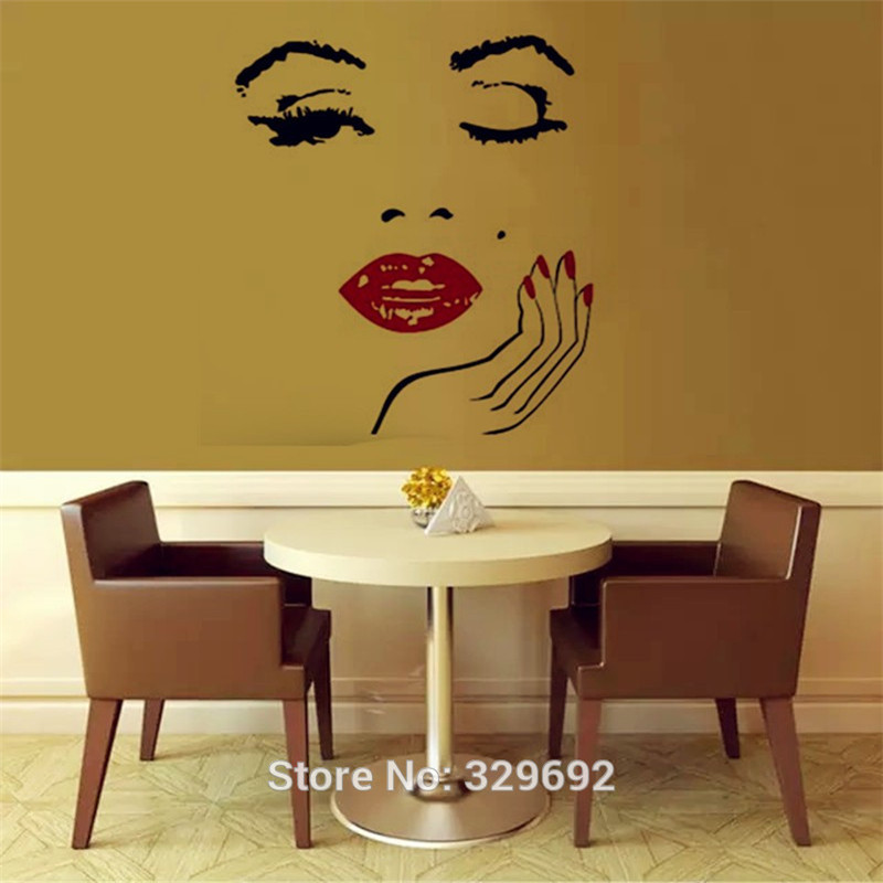 Beauty Salon Girl Face with Hand Manicure Nail Lips Wall Decals Vinyl Wall Stickers Interior Home Decor Art Murals Sticker-in Wall Stickers from Home ...