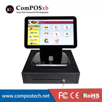 ComPOSxb 15.6'' Capacitive touch Point Pos System All in One epos Terminal /400mm cash drawer for Restaurant billing machine