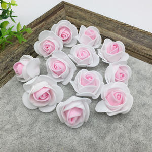 12 pcs Mini Foam Rose Artificial Flowers For Wedding Home Decoration Scrapbooking Fake Rose Flower # Pink-White