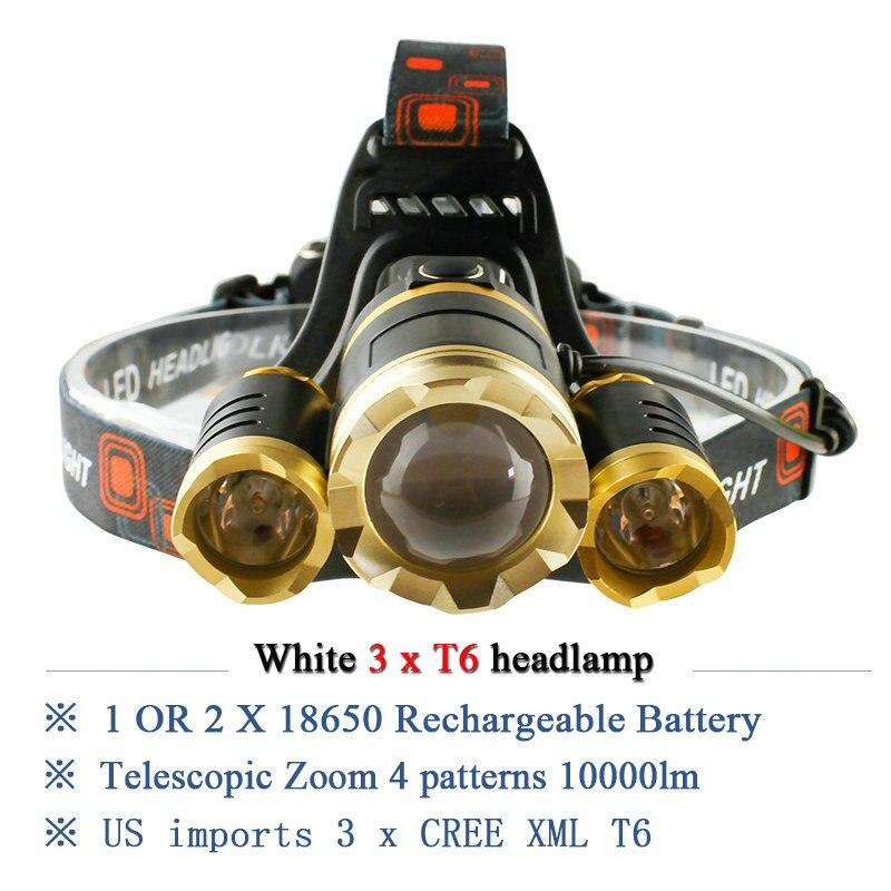 3T6 rechargeable headlamp led <font><b>10000</b></font> lumens cree xml t6 head lamp waterproof <font><b>lights</b></font> headlight 18650 battery head flashlight torch