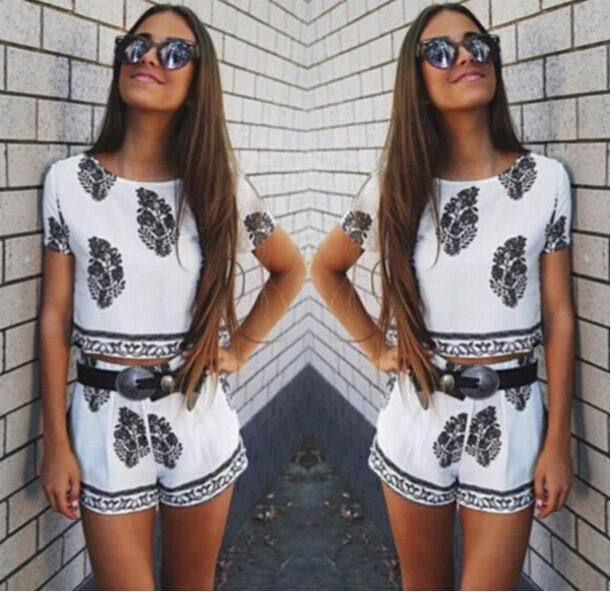 f4cb6251f62 Simply White Two-Piece Playsuit Summer Women Cute Boho Leaf Print 2 Piece  Set with Bohemian Crop Tops Sexy Shorts