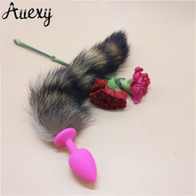 AUEXY Silicone Butt Plugs Fox Tail Anal Plug Ass Massage Animal Buttplug Adult Sextoy for Couples Woman Men Cosplay Sex Products
