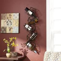 Metal Artistical Iron Cube Wall Wine Frame Wall Bar Restaurant Wall Shelf Rack for Wine Bottle