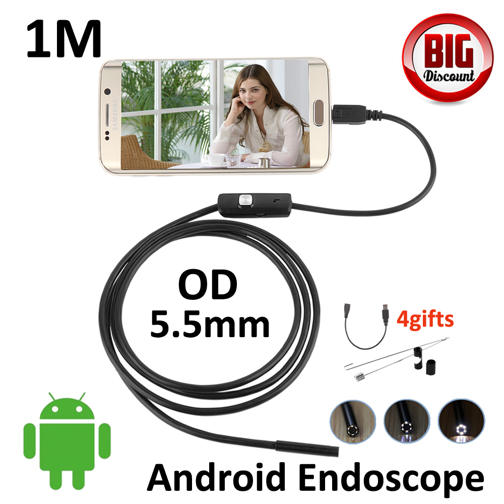 5.5mm Lens 1M Android OTG USB Endoscope Camera Snake USB Tube Inspection Android OTG USB Borescope Android Snake USB  Camera headset bullet usb otg compatible android smartphones digital camera