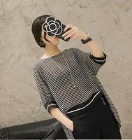 Show Thin Stripes In The New Long Coat Joker Round Collar Short Sleeve Chiffon Unlined Upper