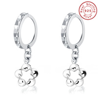 Fashion Cute Genuine Sterling Silver Hoop Earrings Flower Dangle Bridal Wedding Jewelry Boucle D Oreille Free