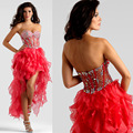 De alta calidad de novia rojo elegante vestidos de coctel cortos 2016 con cuentas cristales mini por encargo sexy prom dress