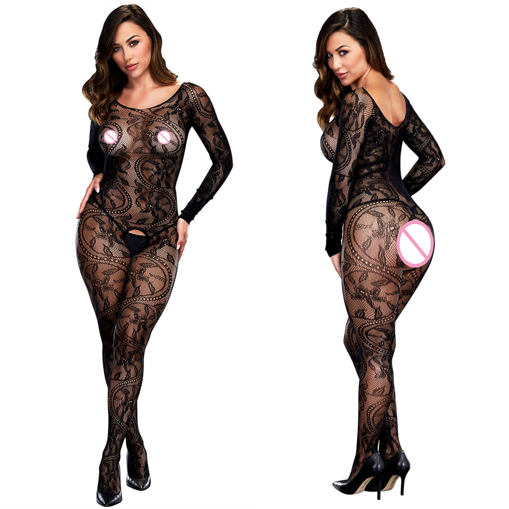 Open Crotch Bodystocking Women Erotic Lingerie Hot Sex O Neck Sexy Costumes Black Underwear Body Stocking Dress Bodysocks