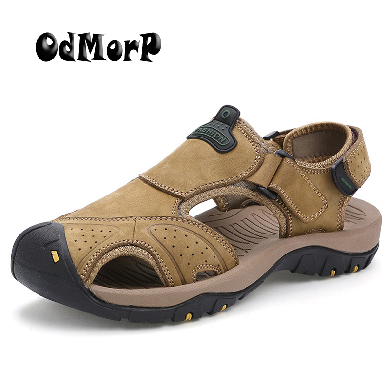 ODMORP New Sandals Men Summer Shoes Casual Leather Beach Sandals Size 45 High Quality Fashion Sandalias Hombre Leisure Slippers