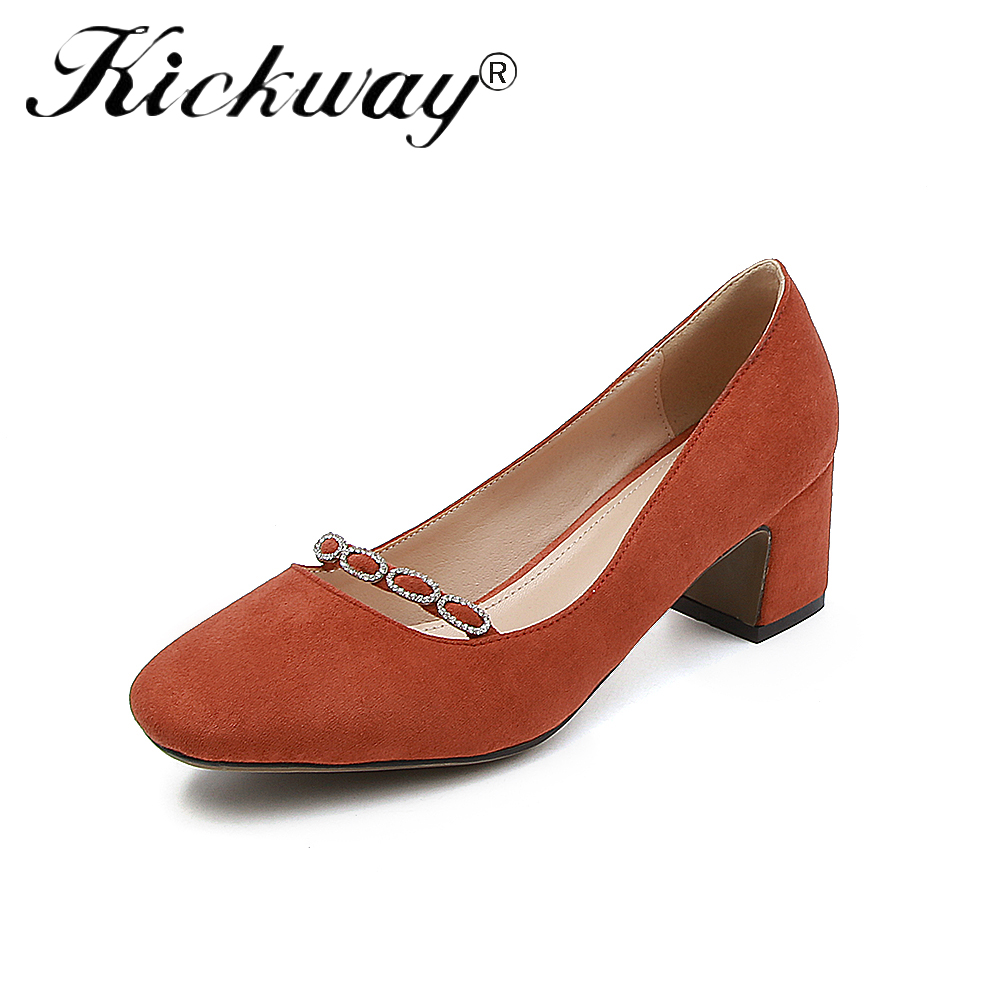 все цены на Kickway Shoes High Quality Women Pumps Med Heels Square Toe Red Shoes Woman Dress Party Spring Autumn Fashion Women Pumps 34-43 онлайн