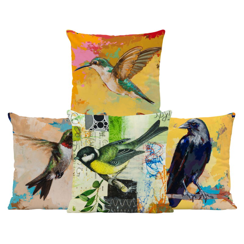 Hummingbird Vintage Cushions Cardinal Parrot Bird Pillows Zaka Beach Baby Birth Gifts Throw Pillow Cases Square Velvet Romantic