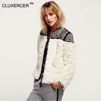 CLUXERCER Brand Winter Coat Women Jacket Lamb Fur Coats Beading Punk Style Short Fur Coats Jackets Rivets Casaco Feminino