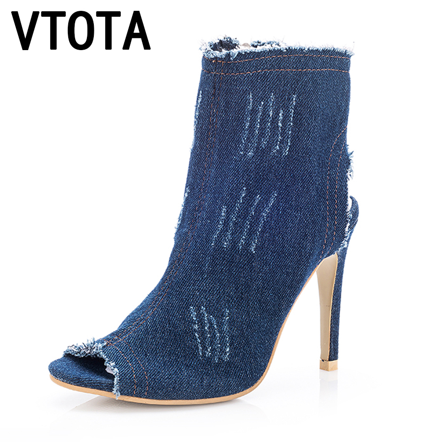 VTOTA Ankle Boots For Women 2017 Fashion Summer Boots High Heel Boots Shoes Woman Sexy Peep Toe Botas Feminina Botas Mujer A68 nancyjayjii 2017 fashion lady black suede peep toe high heels ankle boots shoes for woman zapatos botas mujer plus size 5 14