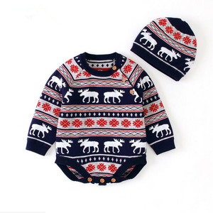 Image 2 - Рождественская одежда для малышей, Вязаный комбинезон для маленьких девочек и мальчиков с шапкой, Детский комбинезон хлопок с оленем, комплект одежды для новорожденных