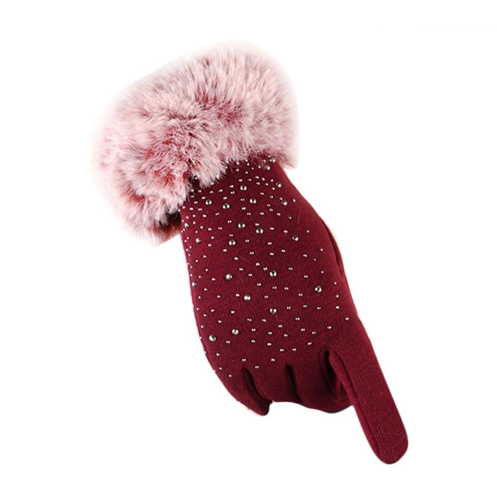Winter Mittens Womens Finger Gloves Thicken Female Faux Fur Elegant Hand Warmer