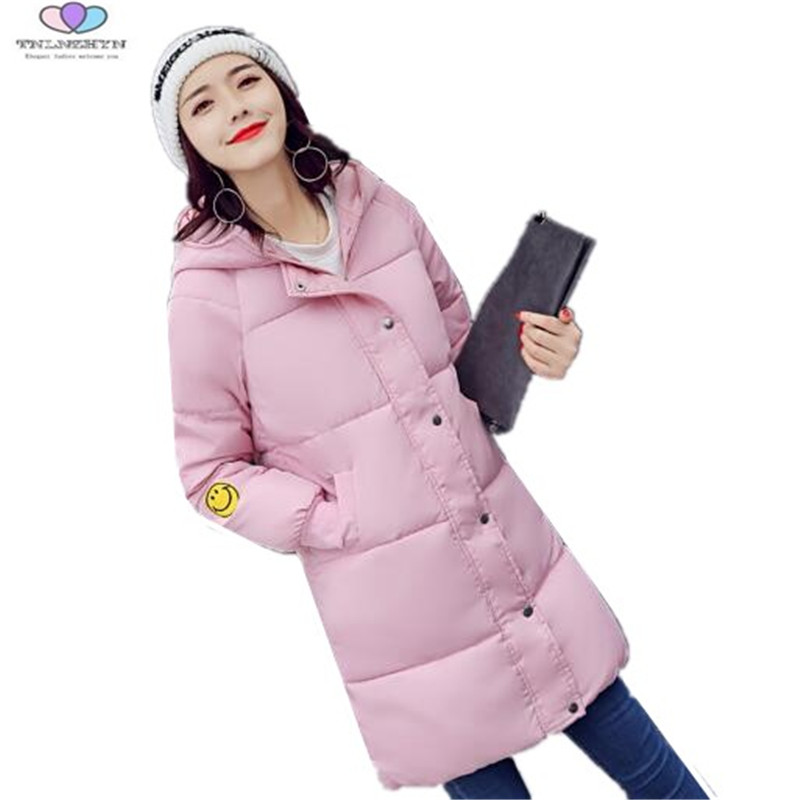 2017 New Autumn Winter Coat Jacket Women Hooded Thick Medium Long Down Cotton Jacket Coat Slim Female Outerwear TNLNZHYN E192 thick hooded down jacket women slim print long winter coat camouflage y160