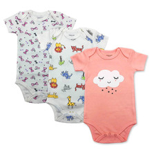 3 pcs/lot Baby Bodysuits 100%Cotton Baby Boy Girl Clothes Infant Short Sleeve Jumpsuit Body for Babies Newborns Baby Clothing цена