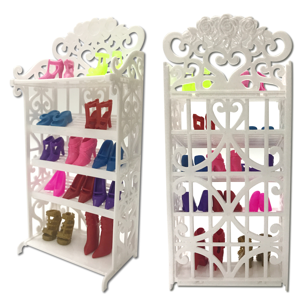 NK One Set 2018 Newest Doll Shoes Rack Playhouse Accessories For Barbie Doll Furniture Kids Best Gift For Girl's DZ