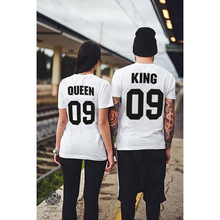 2019 New KING QUEEN 09 Couple Set Short Sleeve T-Shirt Letter Print Lovers Tee Shirt Queen King short-sleeved G0704
