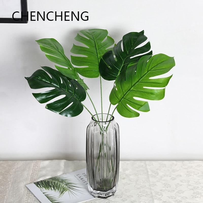 CHENCHENG-Simulation de plantes artificielles | 1 pièce, feuille de tortue plastique Simulation de plantes, tortue mur de bambou, décoration de maison