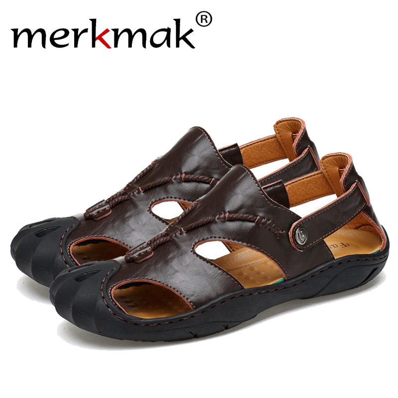 Merkmak Genuine Leather Summer Soft Male Sandals Shoes For Men Breathable Light Beach Casual High Quality Walking Sandal Size 48 xiuteng 2018 spring genuine leather women candy color flats soft rubber sole ladies casual high quality beach walking shoes