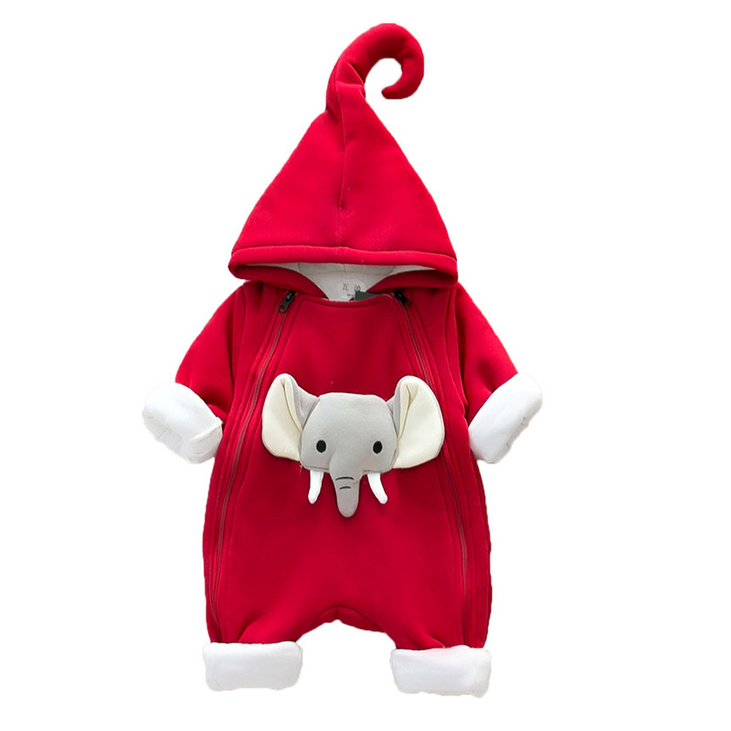 Baby Clothes Boys Rompers 2018 Winter Cartoon Elephant Thickened Girls Rompers Baby Cotton Infant Warm Children Jumpsuit 4rr161 newborn baby rompers baby clothing 100% cotton infant jumpsuit ropa bebe long sleeve girl boys rompers costumes baby romper