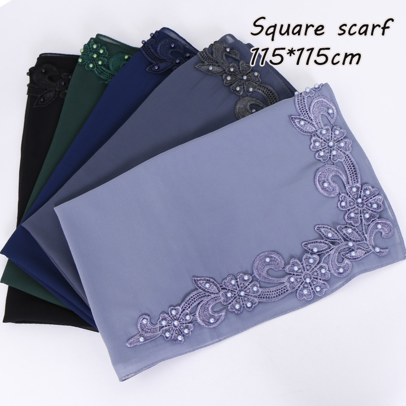 New square hijab scarf women bubble chiffon floral with beads shawl solid headband muslim scarves and