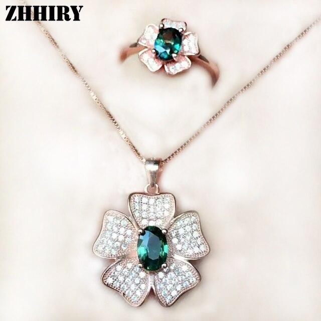 Femmes naturel sapin saphir ensemble véritable pierre fine bijoux bague pendentif collier solide 925 sterling argent ensembles précieuse gemme