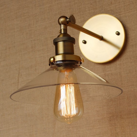 Crazy Ing Golden Wall Lamp Vintage With Gl Lampshade In Loft Style