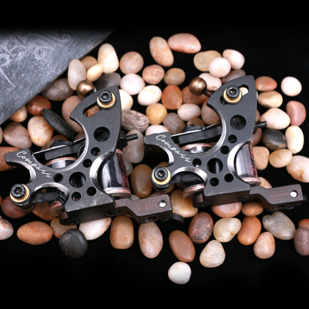 Top Quality Compass Tattoo Machine Shader And Liner Gun 10 Wraps Steel Frame Copper Coils Tattoo