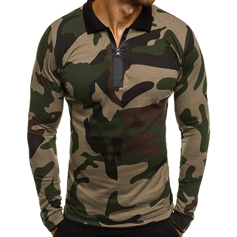 MoneRffi 2019 New Men Long Sleeve   Polo   Shirt Guys Fashion Camouflage   Polo   Shirt Spring Autumn Male Slim Fit   Polo   Shirt