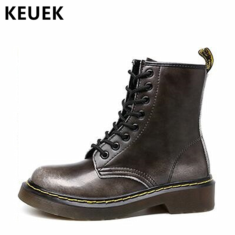 Autumn Winter Women Ankle Motorcycle boots Genuine leather Vintage Lace-Up Martin boots Female shoes Warm Plush Snow boots 033 women shoes spring autumn bright black martin boots lace up platform ankle boots quality genuine leather female motorcycle boots