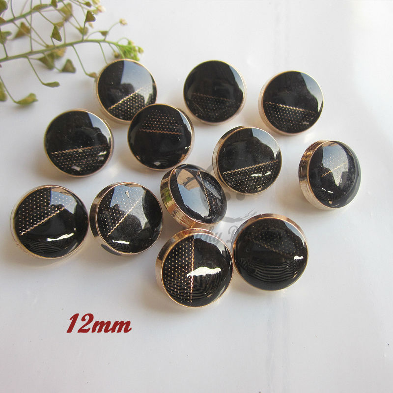 0fdc2f808f Metal shirt buttons 60pcs 12mm high grade round black epoxy gold ...